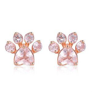 Rose Gold Cat Claw Dog Paw Pink Crystal Earrings